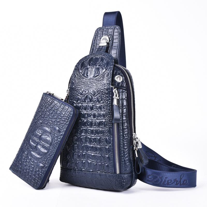 Túi đeo chéo vân da cá sấu Dierle kèm ví dài nam