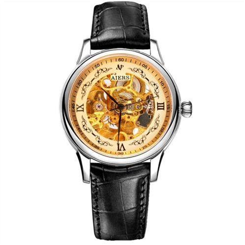 Đồng hồ nam Aiers B125G mặt rỗng chạm khắc tinh xảo