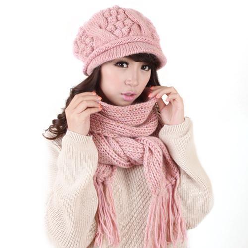 Combo mũ và khăn len lông cừu nữ thời trang