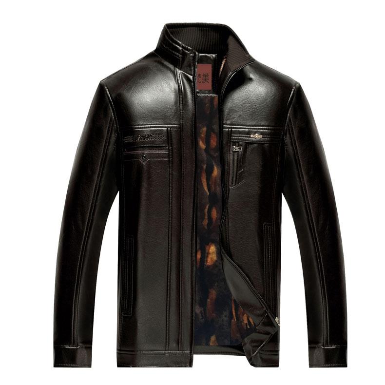 Áo Jacket da nam trung niên khóa kéo lót lông Men Leather