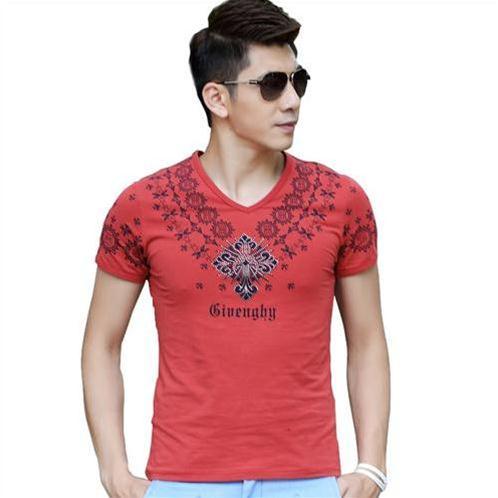 T-shirt nam ngắn tay cổ tim viền họa tiết Sinhillze