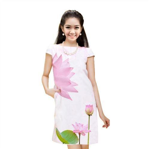 Váy suông họa tiết sen hồng