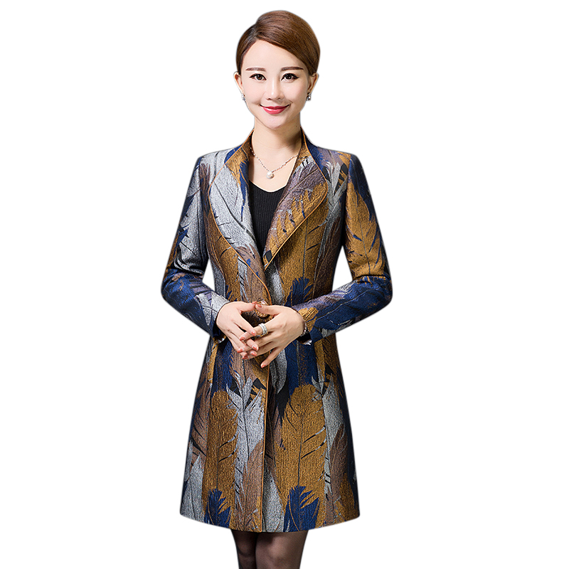 Áo khoác nữ dáng dài họa tiết lông chim YNAL