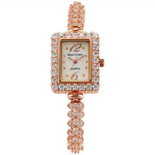 Đồng hồ lắc tay nữ Royal Crown mặt chữ nhật gắn đá