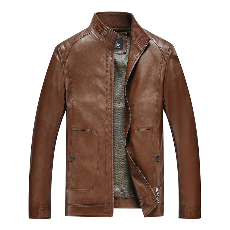 Áo jacket da nam cổ đứng khóa kéo HXDSL