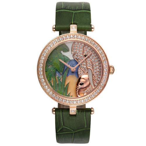 Đồng hồ nữ thời trang tráng men hình con voi đính pha lê lấp lánh Pinch L9509