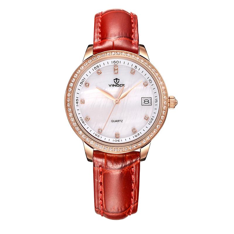 Đồng hồ nữ Vinoce dây da đính đá