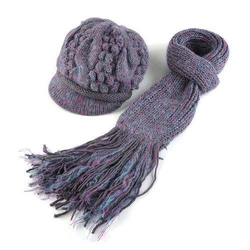 Combo mũ và khăn quàng nữ len lông cừu Dorain