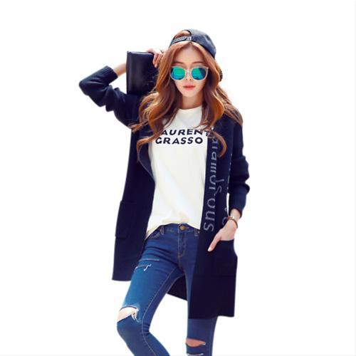 Áo cardigan nữ dáng dài đan chữ HStyle