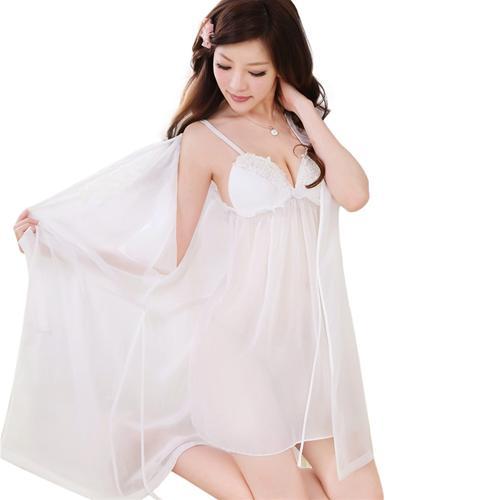 Bộ váy áo choàng ngủ tay xòe phối ren Hamuse