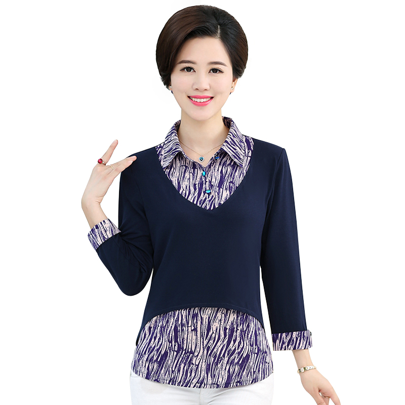 Áo nữ trung niên hai lớp in họa tiết SMT