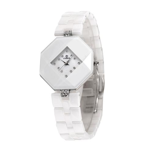 Đồng hồ nữ ceramic mặt bát giác Vinoce 633228