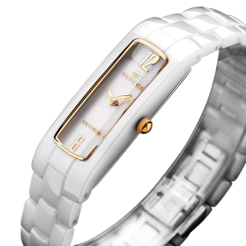 Đồng hồ nữ dây gốm mặt chữ nhật Vinoce