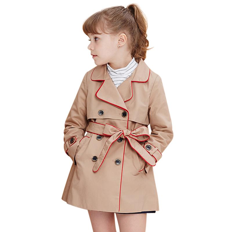 Áo khoác măng tô bé gái MYL viền đỏ
