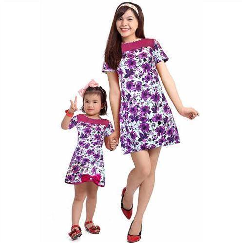 Đầm hoa thời trang cho mẹ và bé