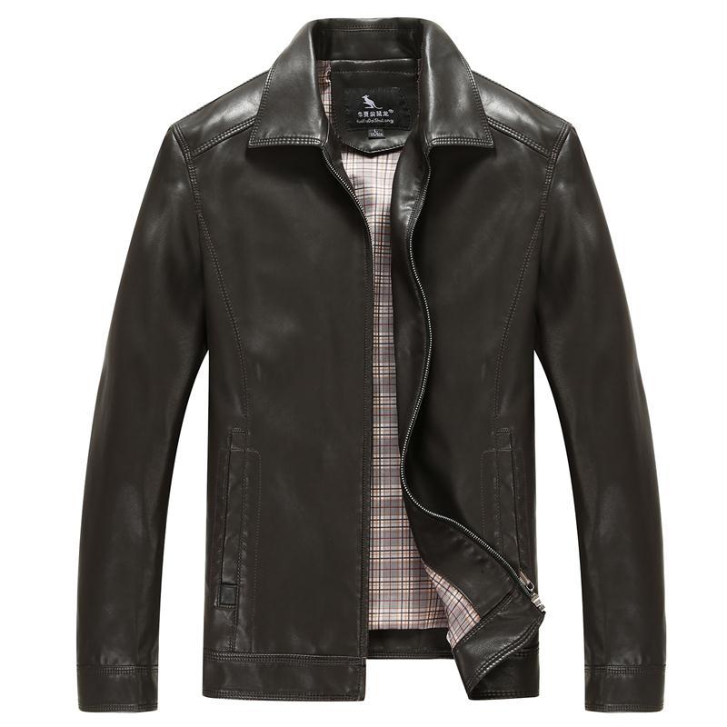 Áo khoác da nam cổ bẻ túi khóa đứng HXDSL