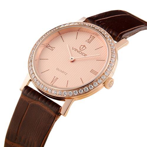 Đồng hồ nữ siêu mỏng đính đá Vinoce V8350TW số la mã đẹp