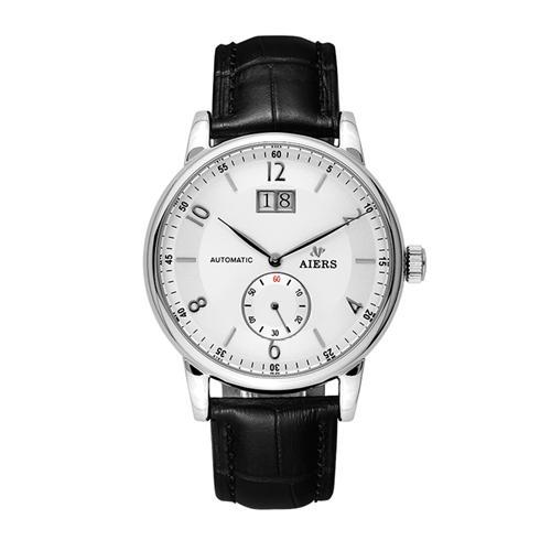 Đồng hồ cơ dây da nam Aiers B163G