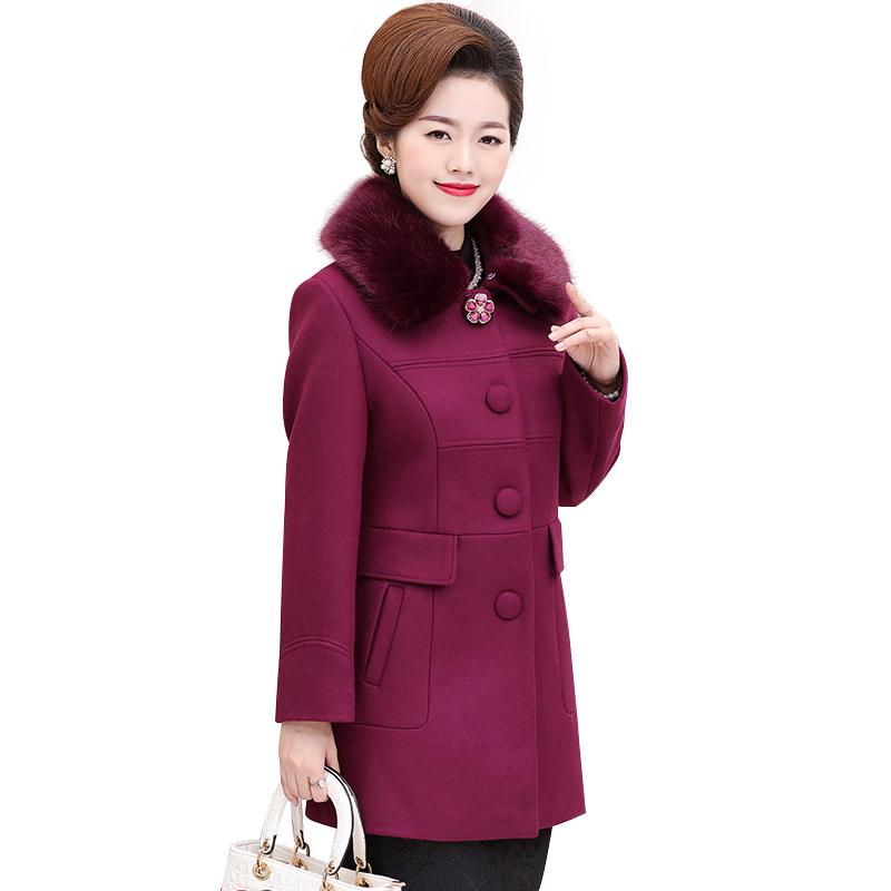 Áo khoác dạ dáng dài cổ lông khuy hoa tròn SMT