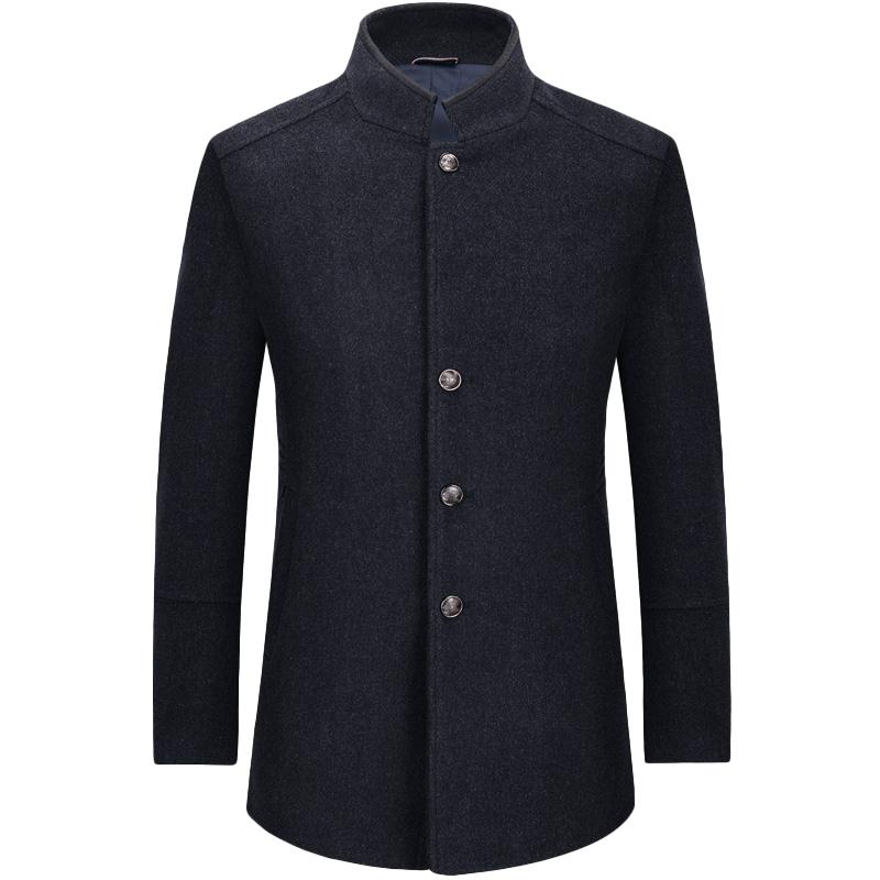 Áo khoác dạ lông cừu nam dáng Top Coat cổ đứng KSLPT