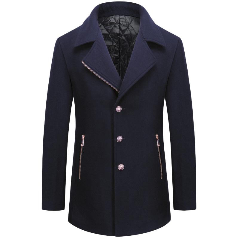 Áo khoác Top Coat dạ lông cừu KSLPT cổ viền khóa