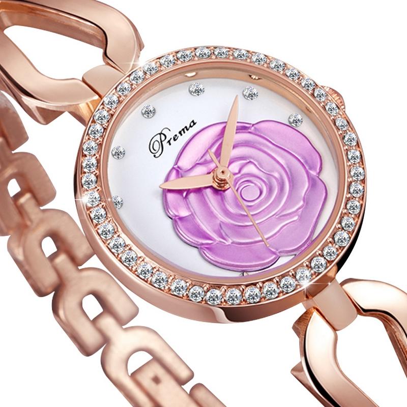 Đồng hồ trang sức nữ Prema mặt hoa hồng khảm đá