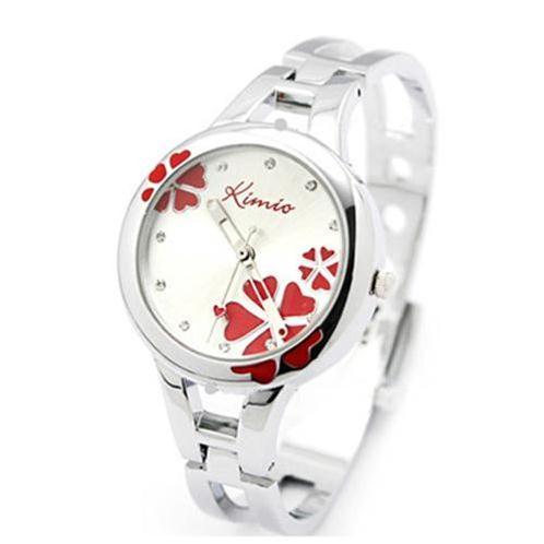 Đồng hồ vòng tay KIMIO họa tiết hoa gắn kim cương thời trang