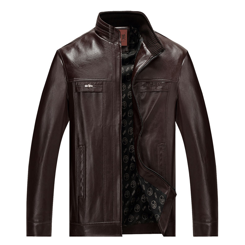 Áo Jacket da nam trung niên cổ đứng lót nỉ Men Leather
