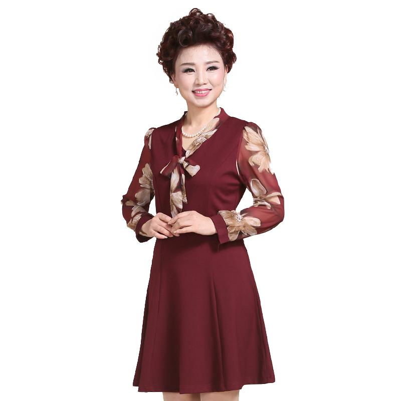 Váy nữ trung niên cổ áo thắt nơ SMT