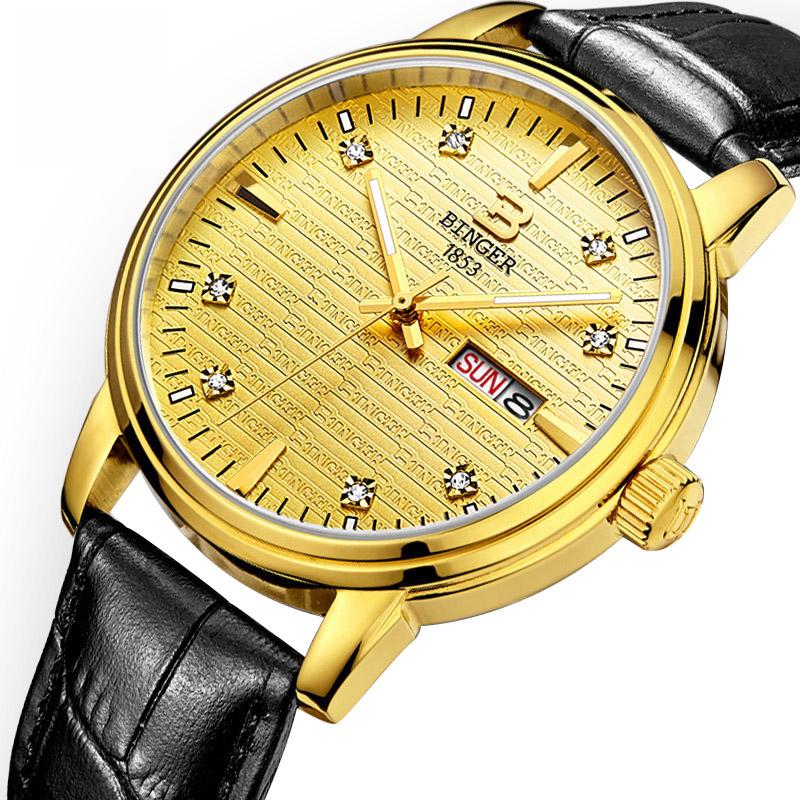 Đồng hồ nam mặt chữ Binger đính đá