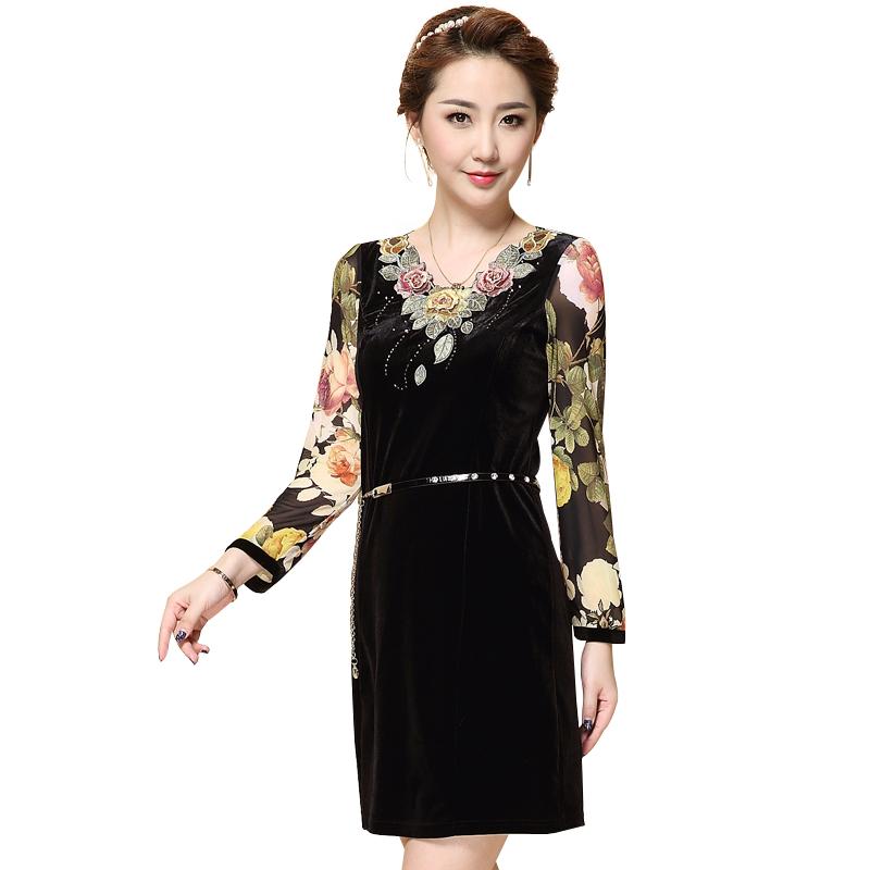 Đầm nhung nữ QIZ dáng ôm tay voan hoa
