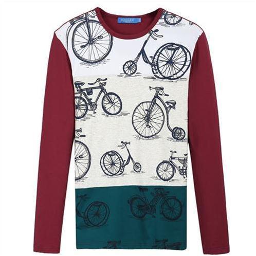 Áo thun nam dài tay in họa tiết xe đạp No1Dara