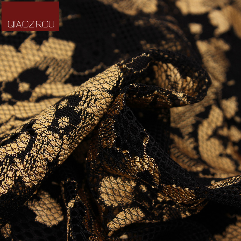 Váy đầm suông kèm áo khoác hoa văn ánh kim hoàng gia QIZ