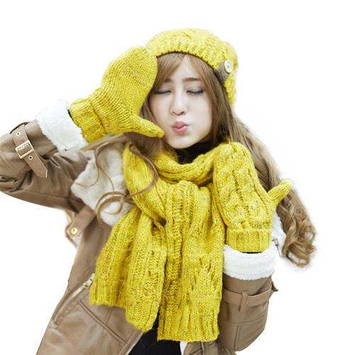 Combo Mũ, khăn và găng tay len nữ Dorain