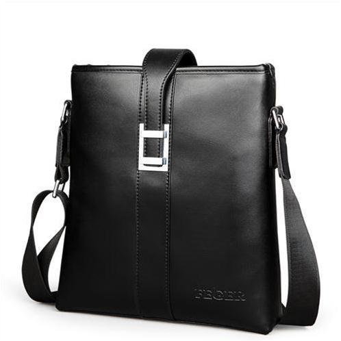 Túi da nam Feger 633-1 khóa gài đen