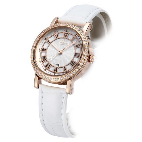 Đồng hồ nữ dây da đính pha lê thời trang Vinoce 3281GGB
