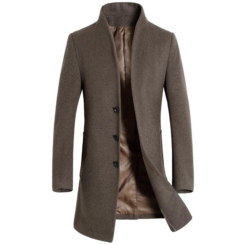 Áo khoác nam dáng dài dạ lông cừu khuy chìm Kadapo