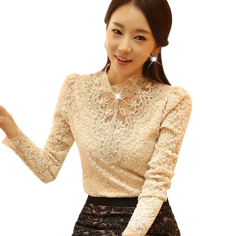 Áo ren hoa cổ cao Yigye đính sequin