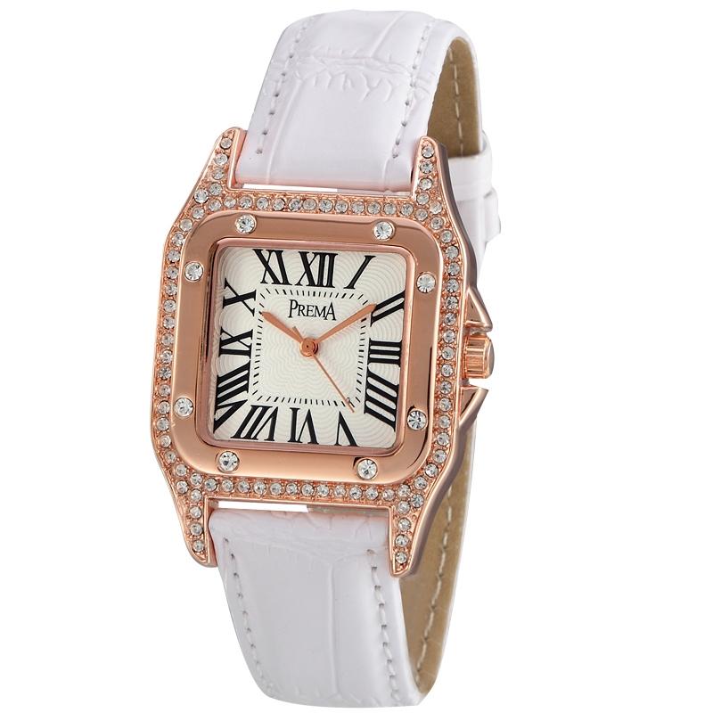 Đồng hồ nữ Prema mặt vuông đính đá