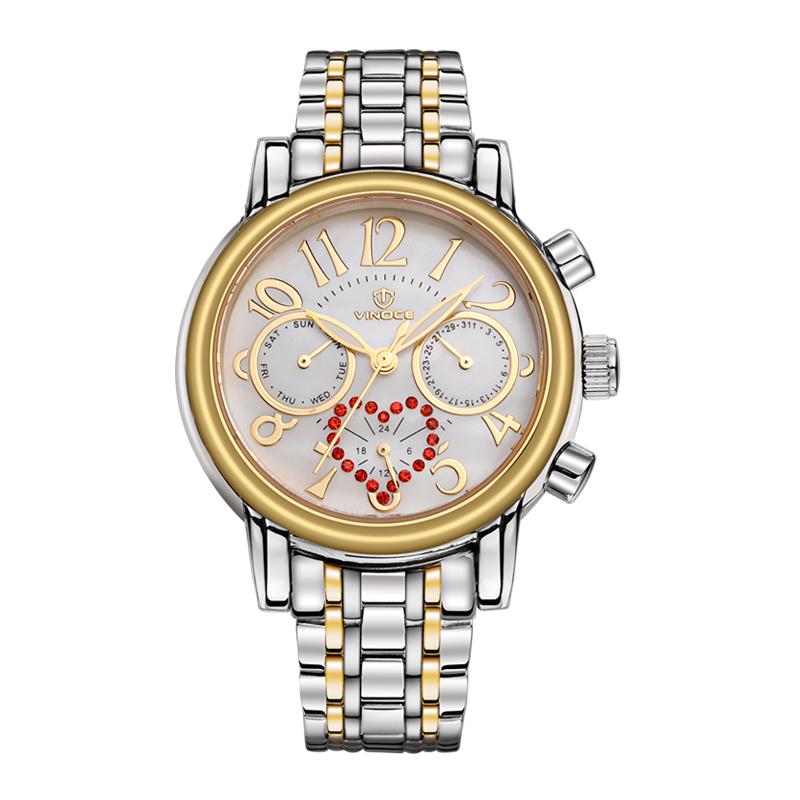 Đồng hồ 6 kim mặt trái tim đính đá Vinoce