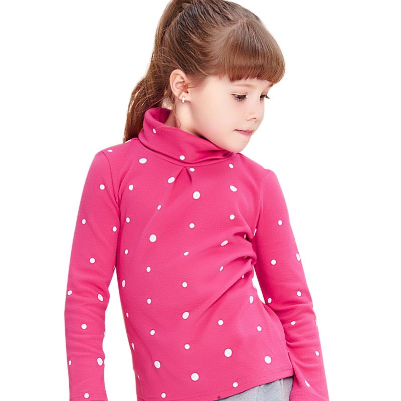 Áo thun bé gái cổ lọ MYL in họa tiết chấm bi