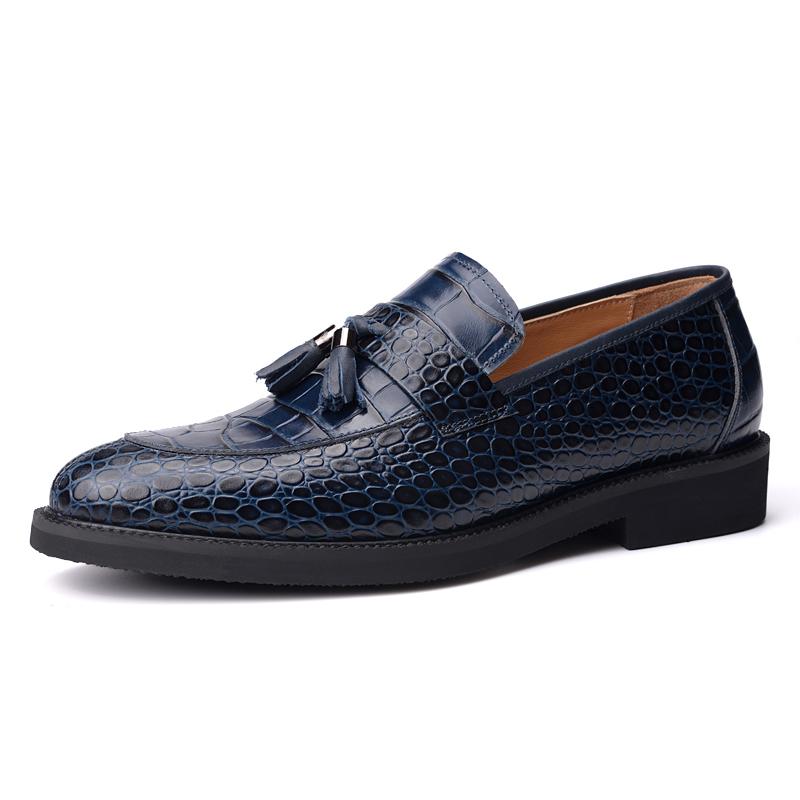 Giày Slipper nam Vangosedun nơ chuông vân da cá sấu