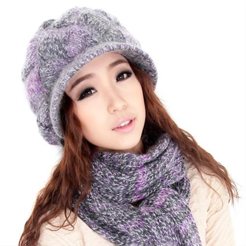 Mũ len nữ Dorain xanh tím Combo 2 sản phẩm
