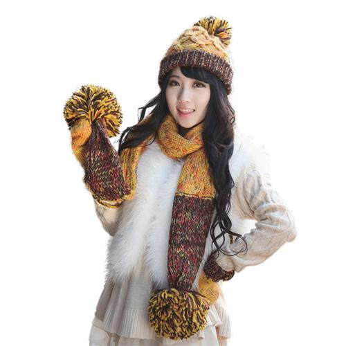 Combo 3 sản phẩm: mũ, khăn và găng tay len cho bạn gái