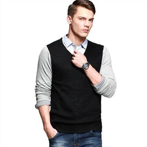 Áo len dệt kim K-Jeans phối màu tạo hình giả gile