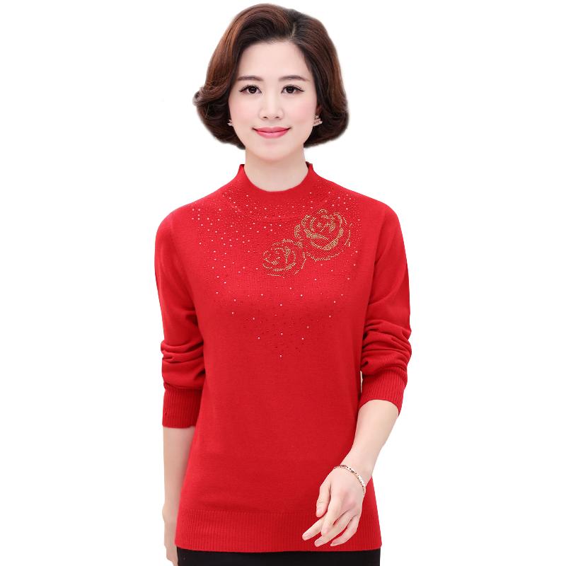Áo len nữ dệt kim đính đá họa tiết hoa hồng SMT
