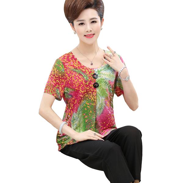 Bộ quần áo nữ trung niên họa tiết nhiệt đới Péman