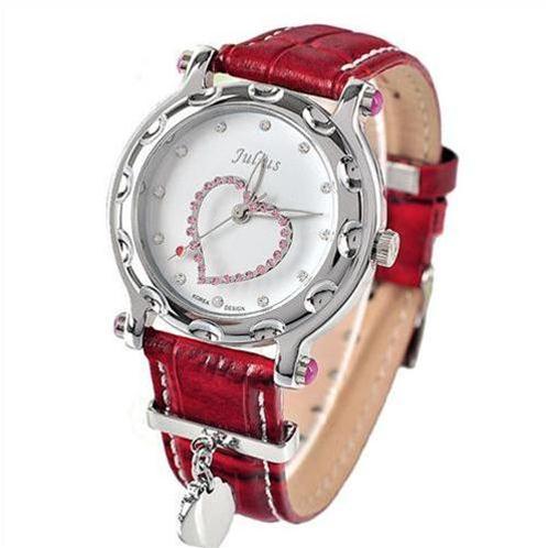 Đồng hồ nữ Julius JA-397 Trái tim hồng đính đá