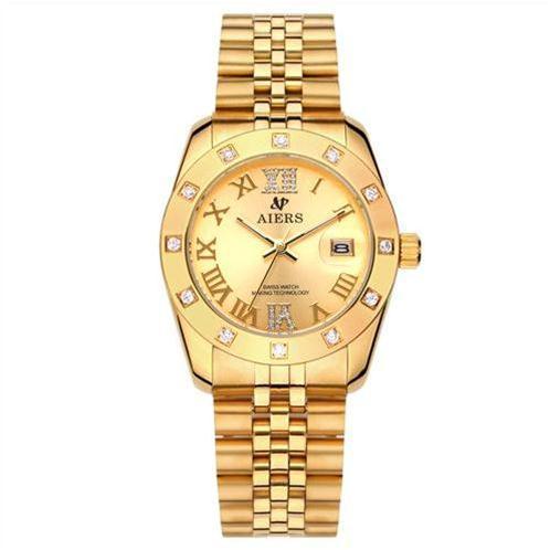 Đồng hồ nam cao cấp Aiers B142G mạ vàng 18K