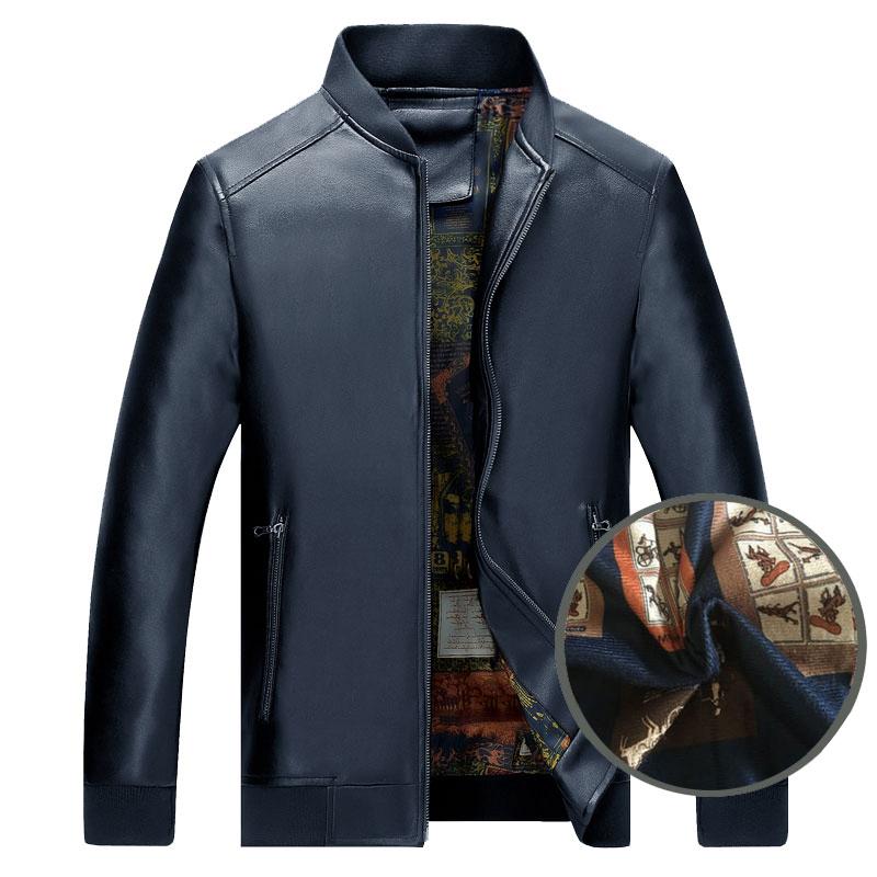 Áo Jacket da nam Men Leather cổ bóng chày